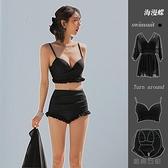 大碼泳衣女比基尼性感大胸高腰遮肚顯瘦韓國分體三件套【貼身日記】