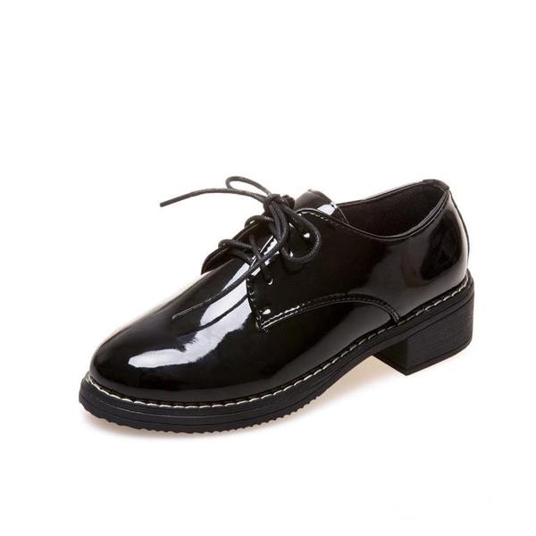 英倫風小皮鞋女-小皮鞋女春季新款韓版百搭學生原宿英倫風平底黑色單鞋女鞋子-奇幻樂園