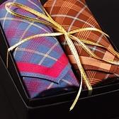 手帕禮盒 純棉方巾(兩件套)-英倫時尚格紋紳士男配件2色73gd20[時尚巴黎]