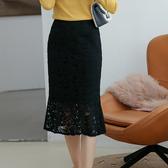 加絨中長版蕾絲包臀魚尾裙(二色S-2XL可選)/設計家 ZY3525