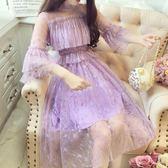 名媛七分雙層喇叭袖吊帶星星網紗拼接木耳邊中長款連身裙女裝   居家物語