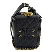 【奢華時尚】CHANEL黑色荔枝牛皮復古金鍊斜背化妝箱包(九八成新)#25032