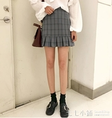 夏季女裝韓版學院風高腰顯瘦荷葉邊復古格子半身裙百褶裙短裙學生