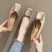 豆豆鞋 粗跟單鞋女中跟奶奶鞋女百搭仙女方頭淺口豆豆鞋女秋-Milano米蘭