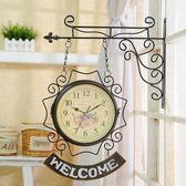 雙面掛鐘客廳鐘表歐式個性靜音時尚鐘美式時鐘現代簡約創意兩面鐘【博雅生活館】
