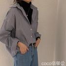 熱賣長版襯衫 襯衫女設計感小眾條紋長袖上衣春季2021新款寬鬆中長款襯衣外套潮【618 狂歡】