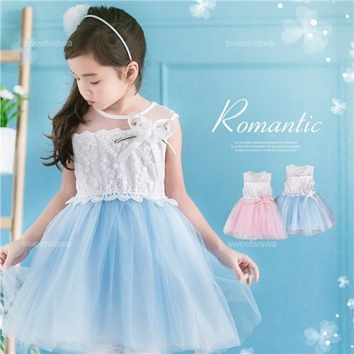 布蕾緹花雪紡層紗洋裝禮服(有內裡)(250038)★水娃娃時尚童裝★