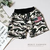 國旗貼布迷彩棉短褲 男童 夏天 棉質 棉褲 迷彩 歐美 鬆緊腰 彈性 藤裝 哎北比童裝