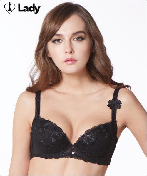 LADY 綺幻星辰系列 刺繡深線內衣 B-F罩(光暈黑)