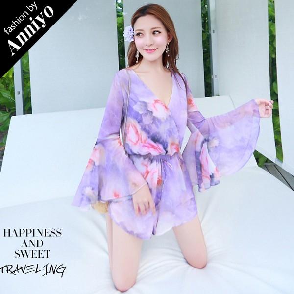 Anniyo安妞‧波西米亞海邊度假顯瘦碎花雪紡水袖喇叭袖長袖連身褲裙連身褲裝‧紫色