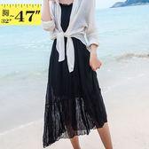 性感洋裝--兩件式舒適優雅細肩帶修身壓紋雪紡花邊V領短袖洋裝(黑.粉M-3L)-D520眼圈熊中大尺碼◎