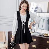 1805新款秋季黑色假兩件連身裙修身顯瘦a字裙公主裙夏GT-2F-233-A朵維思