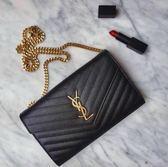 ■專櫃84折 ■Saint Laurent monogram 大款 22 CM WOC 魚子醬皮革金色鍊帶皮夾
