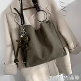 帆布包 大包包女潮韓版時尚斜背帆布包ins百搭大容量側背托特包 晶彩