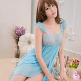 睡衣 性感睡衣 藍色柔紗雙層開襟二件式情趣性感睡衣 星光密碼C071