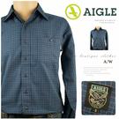 【大盤大】AIGLE 長袖襯衫 S號 格紋襯衫 老鷹品牌 名牌  顯瘦款 百貨精品 薄襯衫 翻領 有領