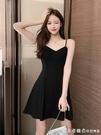黑色連衣裙女外穿內搭打底顯瘦吊帶a字短裙赫本小黑裙小個子長裙 美眉新品