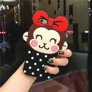 6S 免運 可愛蝴蝶結波點猴子 iPhone6 5s se 6s 6puls 手機矽膠軟套(任選二件$900)