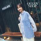 Queen Shop【01023625】撞色條紋拼接單口袋長袖襯衫*現+預*