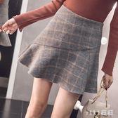 中大尺碼魚尾裙 2019秋冬季高腰格子毛呢a字短裙女蓬蓬裙一步裙 nm18641【VIKI菈菈】