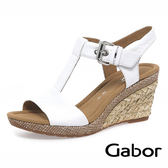 【Gabor 促銷6折】GABOR T字型高雅楔型涼鞋 白