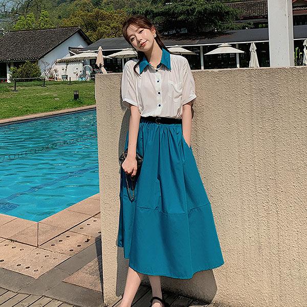 洋裝 撞色假兩件連身裙-媚儷香檳-【D1659】