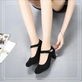 高跟鞋 布鞋中高跟防滑女單鞋黑色淺口上班女鞋一字扣舞蹈 韓先生