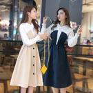 出清388 韓國學院風襯衫拼接收腰紐扣裝飾長袖洋裝