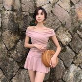 梨卡 - 甜美公主系列[挖洞後綁帶+一字領]粉色顯瘦裙式遮腿大尺碼溫泉比基尼泳裝連身泳衣CR417-1