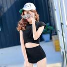 Qmigirl 泳裝【WET185】韓版短袖兩件式高腰比基尼泳衣 溫泉 沙灘 BIKINI