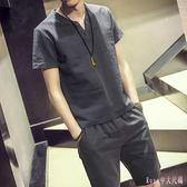 大碼運動套裝 夏季2019韓版男士短袖褲裝中國風寬鬆復古休閒兩件套 DR25794【Rose中大尺碼】