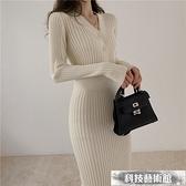 雙11特價 針織洋裝配大衣長款修身毛衣裙過膝秋冬外穿收腰包臀洋氣打底針織連身裙子