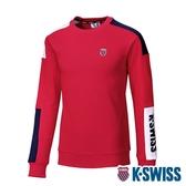 K-SWISS Colors Panel Sweatshirt圓領長袖上衣-男-紅/藍/白