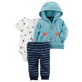 Carter's平行輸入童裝 男寶寶 連帽刷毛外套&短袖包屁衣&長褲 綠怪獸【CA121H657】