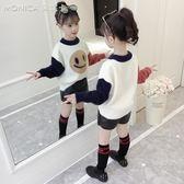 女童馬海毛毛衣套頭新款兒童女孩洋氣秋冬加絨加厚針織打底衫   莫妮卡小屋