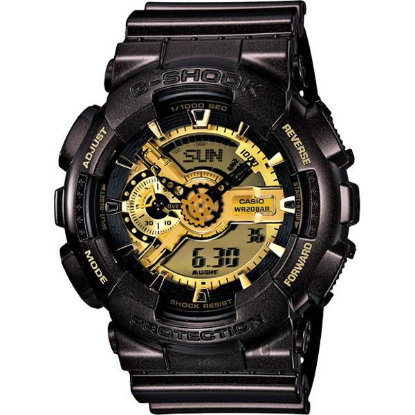 限量烤漆質感 CASIO 卡西歐 G-SHOCK 黑金狂潮重機雙顯錶 GA-110BR-5ADR / GA-110BR-5A