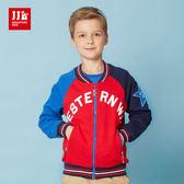 JJLKIDS 男童 星星貼布配色運動風外套(鮮紅)
