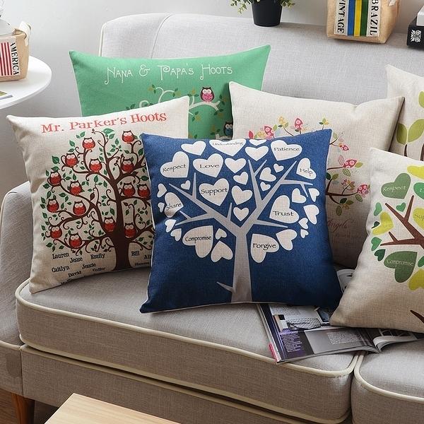 歲末清倉~簡約時尚自然生命樹抱枕 靠墊 沙發裝飾靠枕 (45*45cm不含枕心)