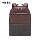 【FOSSIL】Kenton 灰黑異材質拼接真皮口袋後背包-咖啡色 SBG1252914