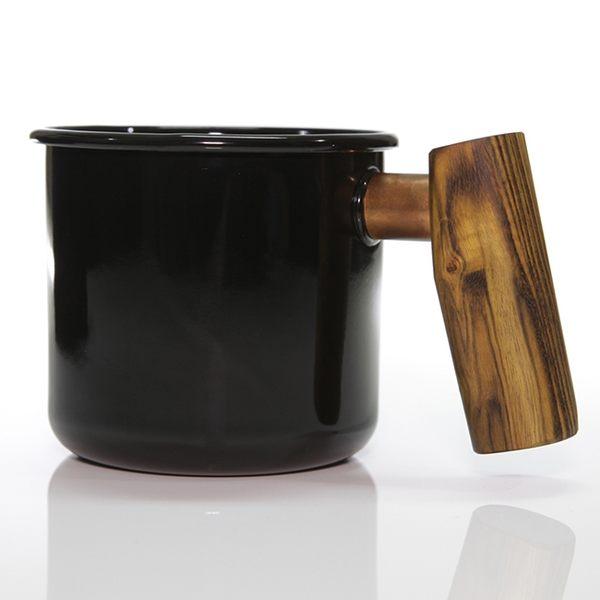Truvii 特製木柄琺瑯杯『黃連木』 400ml 咖啡杯│露營杯│馬克杯│水杯│精品│限量 TENMP