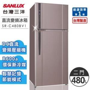 送康寧透明玻璃保鮮盒4件組【台灣三洋SANLUX】480公升一級雙門直流變頻冰箱/紫色(SR-C480BV1)