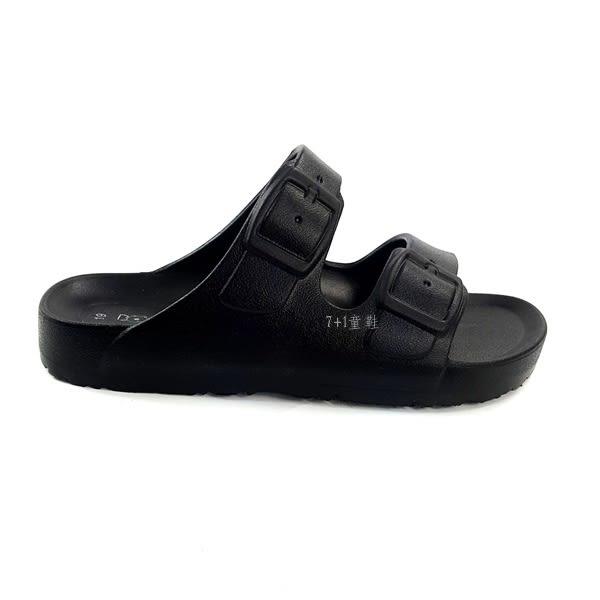 輕量 一體成型 兩段式休閒拖鞋《7+1童鞋》D044 黑色