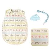 日本 Hoppetta 童趣森林六層紗防踢背心(嬰童)+雲朵咬咬固齒器+童趣森林手帕