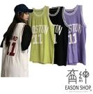 EASON SHOP(GW6536)實拍百搭撞色字母數字印花長版OVERSIZE無袖籃球背心裙連身裙女上衣服寬鬆罩衫棉