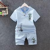 唐裝 童裝男童漢服套裝寶寶棉麻亞麻兩件套夏季兒童唐裝中國風小孩衣服 瑪麗蘇