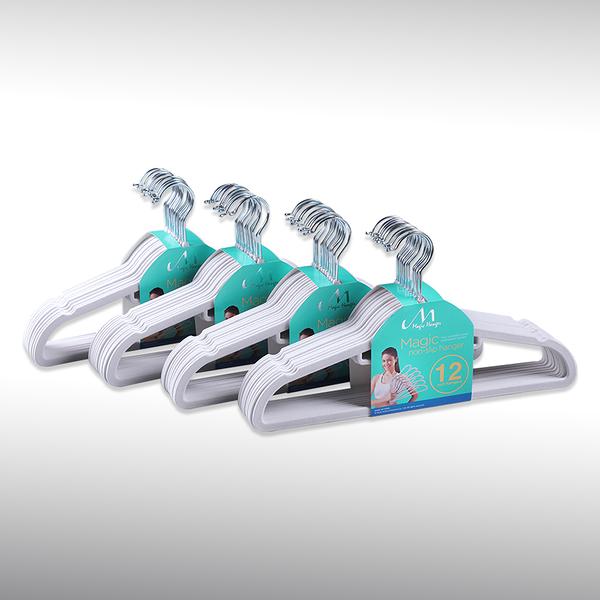 【洛克馬創意生活館】 熱銷追加款 一代 Magic Hanger 韓國熱銷超薄防滑不滑落衣架 50支組- 銀白色