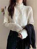 秋冬韓版2021新款蕾絲拼接半高領寬鬆內搭打底減齡長袖T恤上衣女 寶貝計畫
