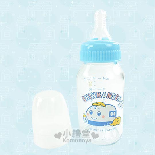 〔小禮堂嬰幼館〕台灣 佳美 新幹線 晶鑽玻璃奶瓶《S.藍.120ml》適用初生兒-3個月大寶寶 4710482-00815