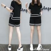 短袖運動套裝夏裝新款韓版女裝大碼胖妹妹兩件套顯瘦寬鬆套裝   蜜拉貝爾