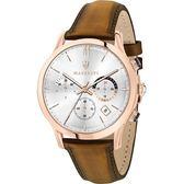 【Maserati 瑪莎拉蒂】/三眼皮帶錶(男錶 女錶 手錶 Watch)/R8871633002/台灣總代理原廠公司貨兩年保固